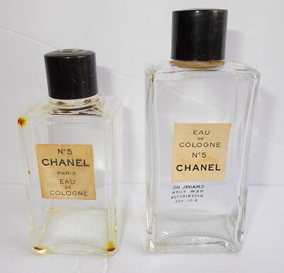 Lot of 2 Vintage Empty Chanel No. 5 Glass Perfume Bottles