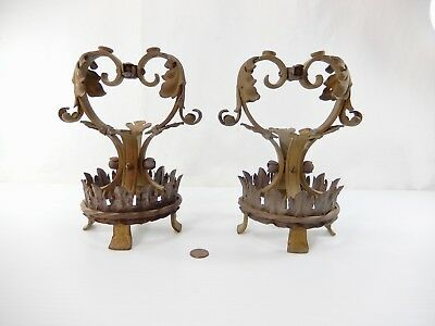 Pair (2)  Antique Cast Brass & Steel Lamp Bases