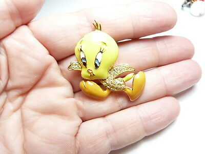 Vintage Warren Bros. Gold Tone Metal Yellow Enamel Rhinestone Tweety Bird Brooch