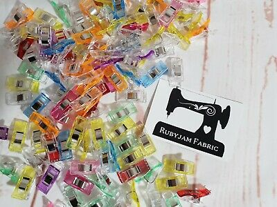 Pack of 50 Wonder Clips MIXED COLOURS for stretch knits, quilting, Sydney stock