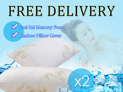 2 * Cool Gel Memory Foam Pillow With Bamboo Cover 35*55*12