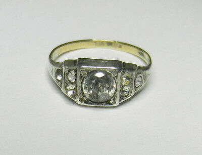 Vintage Art Deco  9 ct Gold and Sterling Silver Paste Ring Size N