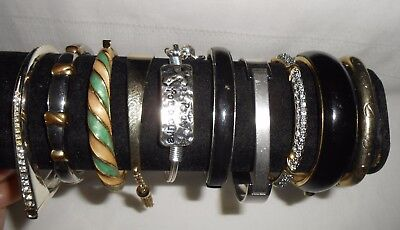 10 Vintage & Modern Decorated Metal Hinged Costume Jewelry Bracelets Lot B419