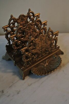 Antique Vintage Ornate Solid Brass Victorian Art Nouveau 3 Slot Letter Holder