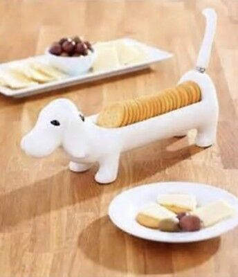 """*WHITE* Dog Cracker Dip Tray with Tail Spreader 11.5"""" L x 3.5"""" H"""