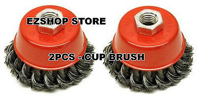 """4"""" Twist Cup Wire Brush Twisted Wire rust paint remover lot of 2pcs"""