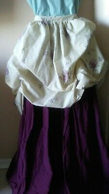 Skirt 100% cotton 18th century Civil War Repro clothing  Ivory Moire 110 Upcycle
