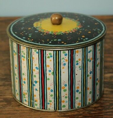 """Johnstons Chocolate Bazar candy tin vintage shabby chic 4.25"""" tall  5.25"""" wide"""