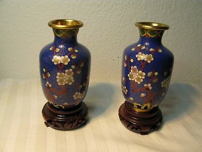 A pair Antique Chinese gold plating cloisonne plum flower decorated small VASE