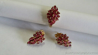 Beautiful Ruby Set Cocktail Ring And Ear Rings 14K Yellow Gold