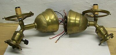 antique pair brass wall sconces gas electric New England 50 CP paddle sockets