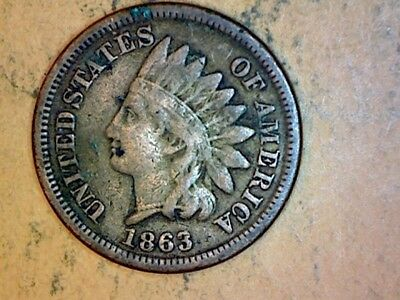 1863 CN Indian Head Cent Very Nice Coin F+