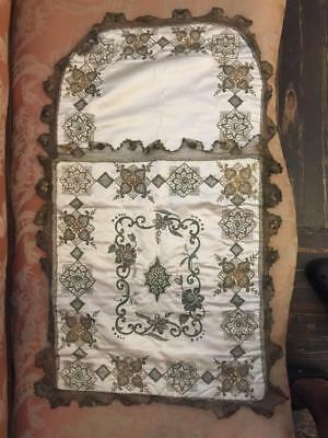 EXTREMELY RARE 18th/19th C SILK GOLD THREADS REAL PEARLS CHRISTENING BLANKET NR