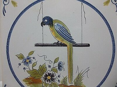 Vintage French Faience MAJOLICA Tile PARROT Bird On Swing Hand Painted