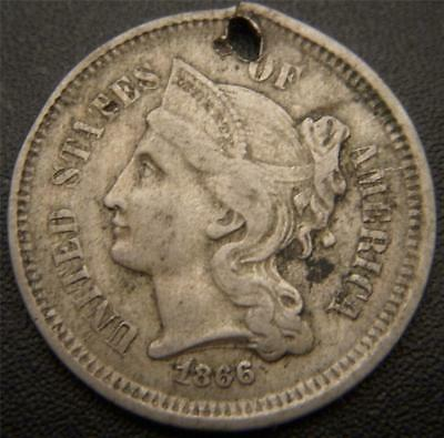 1866 Three Cent Piece - Full LIBERTY, Hair, Leaf, and Line Details Show - Holed