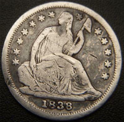 1838 Seated Half Dime - All Major Details Are Distinctly Outlined