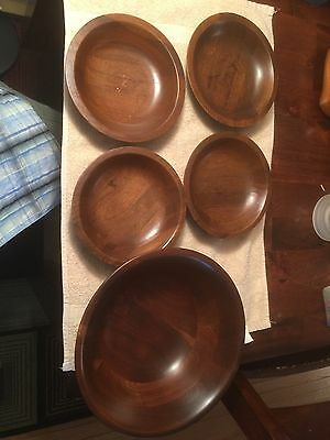 Walnut Salad Bowl With Four Salad Serving Bowls Extremely Nice