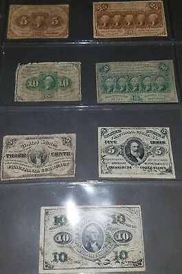 U.S. Fractional Currency lot of 7 notes postage lot #1