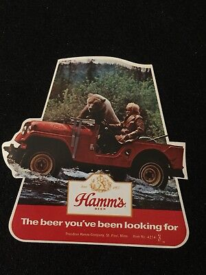 Vintage 1970's Hamm's Beer Sticker Bearded Man & Bear Jeep Hipster Brewery