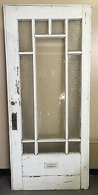 Antique Door With Glass Panes, Some With Designs, Has Mailbox/letters Slot