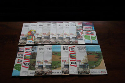 Lot of 20 Texaco highway maps and travel aids, 1960's, 1970's