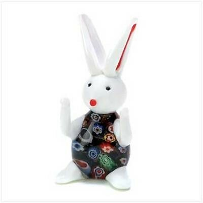 Miniature Art Glass BUNNY RABBIT Wears Colorful Bouquet Small Easter Decoration