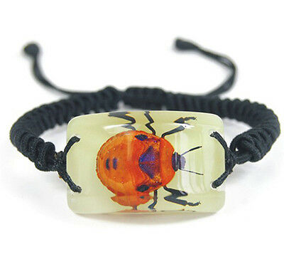 Glow In The Dark Lucite Rectangle Twisted Band Bracelet w/ Flower Bug YL1502