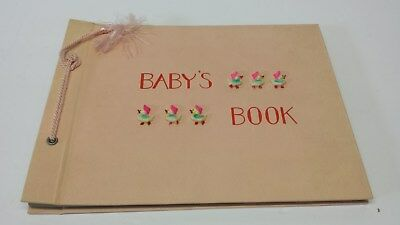 """VINTAGE """"Baby's Book"""" Mid Century Modern UNUSED by C.R. Gibson Company in PINK"""