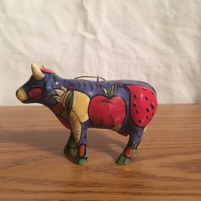 "Cow Parade - lot 3 Ornaments  ""Where's the Beef""  ""Tatooes Bovine"" ""Striped Cow"""