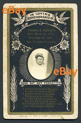 1921 Photo Memorial Card 15 y/o HAYWORTH Guilford Co NC Remembrance Post Mortem