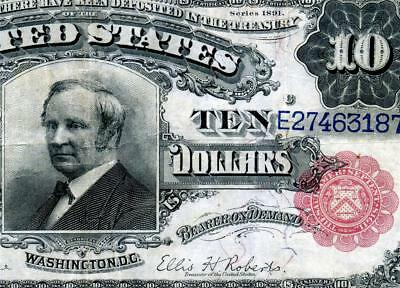 HGR SUNDAY 1891 $10 Mega RARE Fr.300 ((Tombstone-RED)) AWESOME GRADE