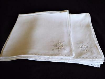 Fine Set Of 12 Italian Punto Reale Embroidery Large Linen Dinner Napkins 23""