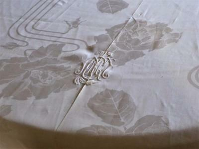 "BEAUTIFUL ANTIQUE FRENCH LINEN DAMASK 144"" BANQUET TABLECLOTH w  FRENCH MONOGRAM"