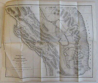 1852 Antique California Map TULARES VALLEY by DERBY, Historical Senate Document