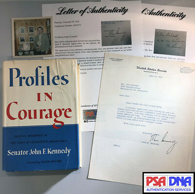 JOHN F KENNEDY JFK Signed Profiles In Courage Book & Letter Auto x2 PSA/DNA LOA
