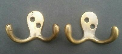 """Set of 2 Small double Coat Hat Hooks Solid Brass 2 1/2"""" #C1"""