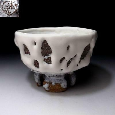ZA9: Japanese Tea Bowl with Notched foot, Hagi ware by Seigan Yamane, Oni-Hagi