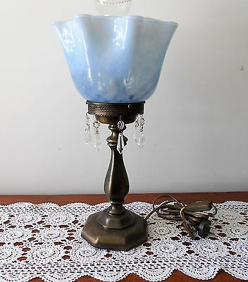Vintage Vaseline Glass And Antiqued Brushed Metal Table Lamp With Crystal Drops