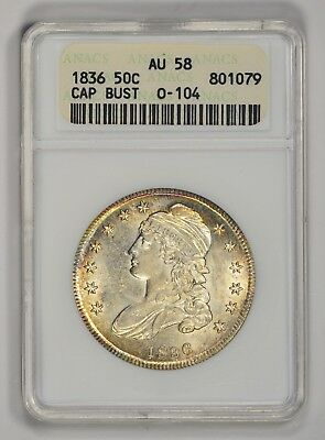 1836 Capped Bust Half, ANACS AU 58 O-104 Lettered Edge R-3 Old Holder
