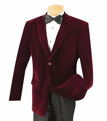 Vinci Men's Burgundy Velvet 2 Button Classic-Fit Sports Jacket Blazer NEW