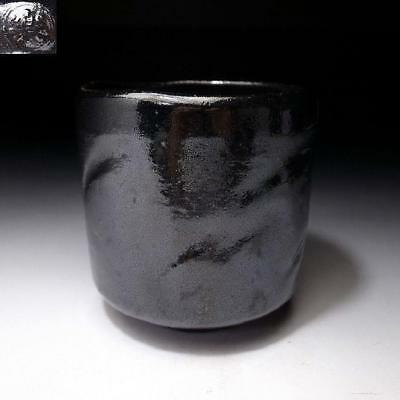 ZF3: Vintage Japanese Pottery Tea cup, Raku Ware, Kuro Raku, Height 4.2 inches