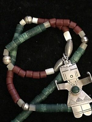 Vintage Native American Kachina Necklace Sterling Bench Beads Turquoise Coral