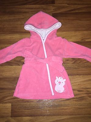 Baby Girl Pink Hooded Bath Robe Size 0-9 Months Pig Character