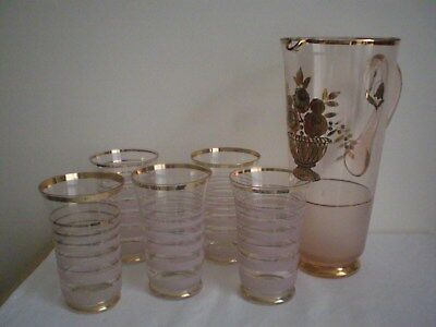 Vintage/antique Art Deco Water/lem0Nade Set Pink  Frosted Glass X 6 Pcs. Superb!