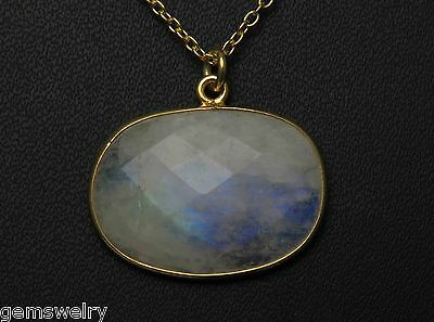 Natural Rainbow Moonstone 925 Solid Sterling Silver Gold Plated Gemstone Pendant