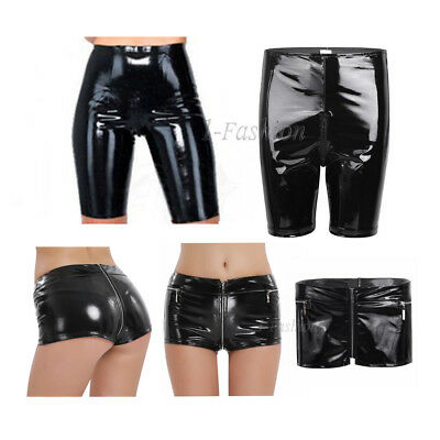 Sexy Women Wet Look Patent Leather Shorts Panties Boxer Brief Pants Clubwear