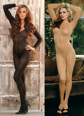 Sexy Black Nude Bodysuit Catsuit Sheer Bodystocking Lingerie Nightwear Sleepwear