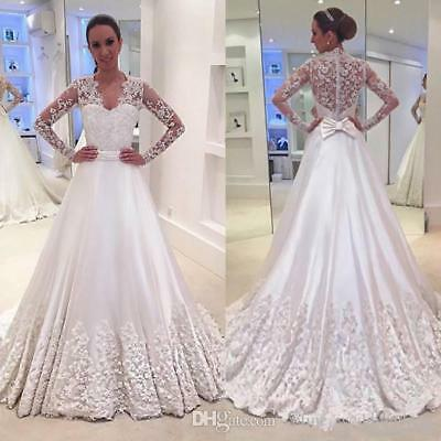 2018 Country Wedding Dress A Line V Neck Long Sleeve Bridal Gowns Lace Liques