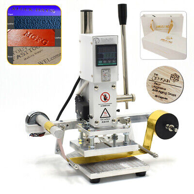 Automatic Hot Foil Leather Stamping Machine PU Craft Heat Press Embossing 300W