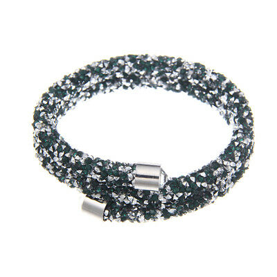 Green and Silver Crystal & Silvertone Coil Bracelet made with Swarovski Elements